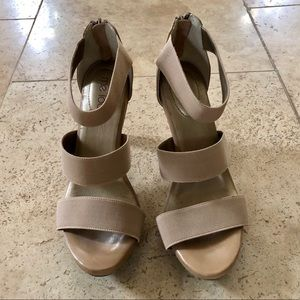 Me Too Shoes - Me Too high heel tan strappy sandal